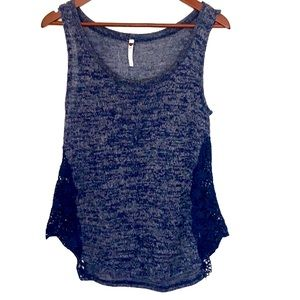 Poof! Blue Lace Trimmed Sleeveless Top